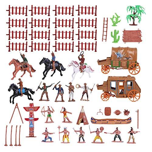 perfeclan Vaqueros Occidentales e Indios Figuras niños juegan Juguetes escenas de la Vida Accesorios para niños, niños, niños