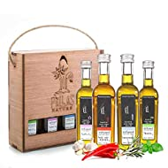 Pellas Nature, Organic Herbs Infused Greek Extra Virgin Olive Oil Set, Finishing Oil Flavors Basil Garlic, Red Pepper, Rosemary, Wooden Combo Set, All-Natural, No-Additives, 4 X 50 ml (1.7 oz) Bottles
