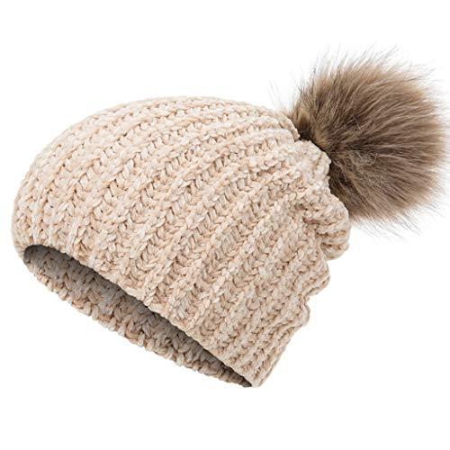 SHYPT Frau Wintermütze Stricken Warme Mütze Matte Weiche Dicke Für Frauen Lässige Mode Pompon Hut Kleidung Accessoires (Color : Beige)