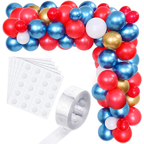 105 Pieces Hero Nautical Theme Party Balloon Garland Arch Kit Blue Red and White Balloons, Balloon Tape Strip and Adhesive Dots for Birthday Wedding Baby Shower Party Decoration Supplies