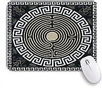 ECOMAOMI 可愛いマウスパッド 伝統的なヴィンテージの白いギリシャの装飾と波のデザイン 滑り止めゴムバッキングマウスパッドノートブックコンピュータマウスマット