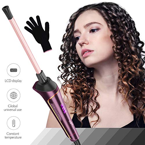 9 mm Hair Curler, HS Onsing Curling Iron Wand Professional Chopstick Curls Ceramic Barrel Iron Curler with Temperature Control Displayer, Small/Slim Tongs with Heat Resistence Glove for All Hair Types