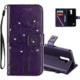 COTDINFOR LG Stylus 2 Hülle für Mädchen Elegant Retro Premium PU Lederhülle Handy Tasche mit Magnet Standfunktion Schutz Etui für LG Stylus 2 / LS775 Purple Wishing Tree with Diamond KT.