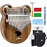 Kalimba 17 Keys Thumb Piano Solid Wood Finger Piano Start Kits African Instrument with Protective Case Tuning Hammer Study Booklet Cleaning Cloth From...