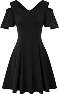 Women's Cold Shoulder Ruffle Sleeve A-line Skater Dress Cocktail Party Dress