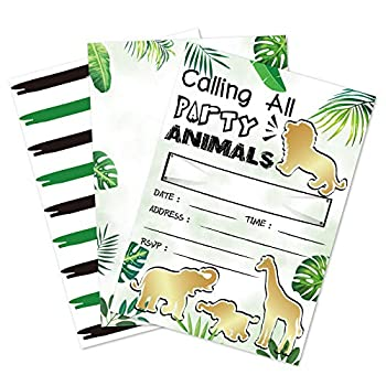 Gold Jungle Animal Party Invitations - 20 Fill-in Invitation Cards with Envelopes for Kids Boys Safari Theme Birthday Party Supplies Double-Sided Printed Tropical Safari Animals Invites