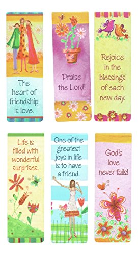 Christian Art Gifts Set of 6 Love Joy and Friendship Inspirational Magnetic Bible Verse Bookmark with Scripture, Size Small 2.3' x .75'
