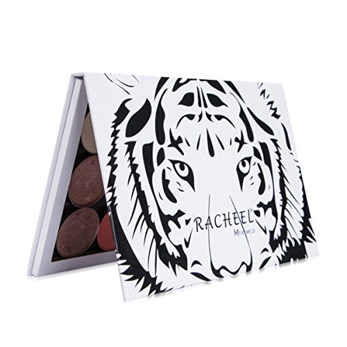 TUOKing Paleta de maquillaje en blanco Paleta de cosméticos vacía para sombra de ojos, Blush, polvo, Fundación Paleta magnética Adjuntar un espejo (Tigre blanco)
