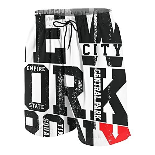 NOLOVVHA Hombres Personalizado Trajes de Baño,Gráficos de Camiseta con Eslogan de tipografía de la Ciudad de Nueva York,Casual Ropa de Playa Pantalones Cortos
