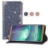 EATCYE Hülle für Huawei Mate 10 Pro, Luxus Bling Glitter Sparkle Case Leichtgewicht Handyhülle mit Kartensteckplätzen Magnetverschluss Hülle für Huawei Mate 10 Pro (Silber)