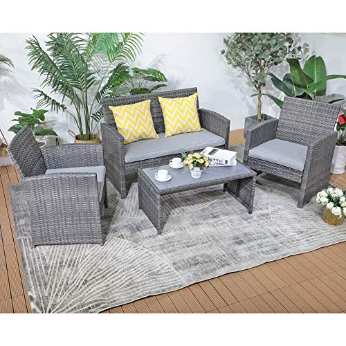 Patiorama 4 Pieces Outdoor Patio Furniture Sets Garden Rattan Chair Wicker Set, Poolside Lawn Chairs with Tempered Glass Coffee Table Porch Furniture (Light Grey)