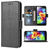 Phone Case for Samsung Galaxy S5 Folio Flip Wallet Case,PU Leather Credit Card Holder Slots Heavy Duty Full Body Protection Kickstand Protective Phone Cover for GalaxyS5 S 5 SV i9600 Men Black