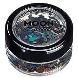 Brillo con Figuras Holográficas por Moon Glitter – 100% Brillo Cosmético para la Cara, Cuerpo, Uñas, Cabello y Labios - 3g - Negro