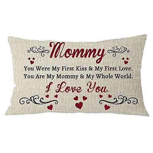 Mesllings van dochter zoon met grappige woorden mama je was mijn eerste kus en mijn eerste liefde crème jute kussensloop kussensloop bank huis decoratieve rechthoek 12x20 inch