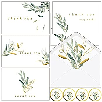 Thank You Cards with Envelopes   36 Gold Foil Eucalyptus Greenery Thank You Cards for Wedding Bridal Shower Baby Shower Graduation Small Business- Thank You Notes with Envelopes&Stickers - 4x6