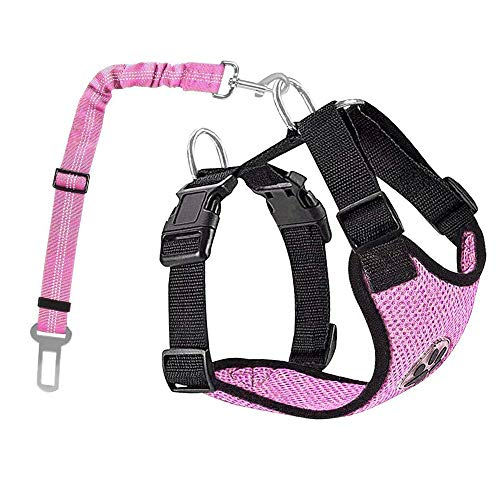 AUTOWT Dog Safety Vest Harness, Pink Dog Car Harness Pet Safety Seatbelt Breathable Mesh Fabric Vest with Adjustable Strap for Travel and Daily Use in Vehicle for Doggie Puppy Cats (M, Pink)
