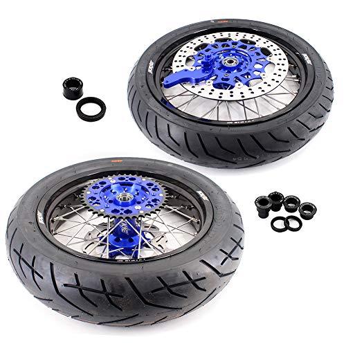 KKE 3.5/4.25 Supermoto Wheels CST Tires Set for YAMAHA WR250F 01-18 WR450F 03-18 Blue Hub 320MM Oversize Disc