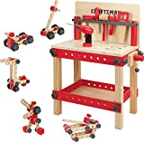 Craftsman Wooden Workbench Kit Kids Tool Bench, Building Toy Set Creative&Educational Construction Toy, Great Gift for Toddlers 3+