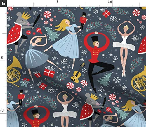 Spoonflower Fabric - Nutcracker Ballet Christmas Music Holiday Ballerina Printed on Organic Cotton Knit Fabric by The Yard - Baby Blankets Clothing Apparel T-Shirts