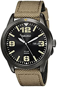 Seiko Men s SNE331 Sport Solar Black Stainless Steel Watch with Beige Nylon Band