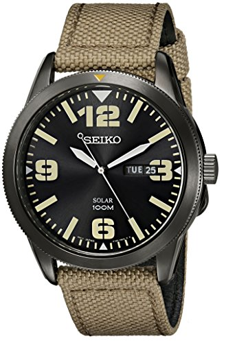 Gents/Mens Black Ion Stainless Steel Seiko Solar Watch on Canvas Strap 100M Water Resistant with Date. SNE331P9
