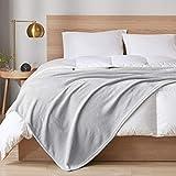 DEGREES OF COMFORT Fleece Twin Blanket for Girls - MicroVelour Velvet Plush   60x80 Throw Blanket Warm Fuzzy Soft & Lightweight Grey