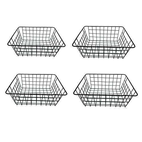 DLAGER - Juego de 4 cestas de almacenamiento de alambre de metal, cesta de frutas, cesta de almacenamiento de metal para armarios de cocina, despensa, baño, lavandería, armarios, garaje negro