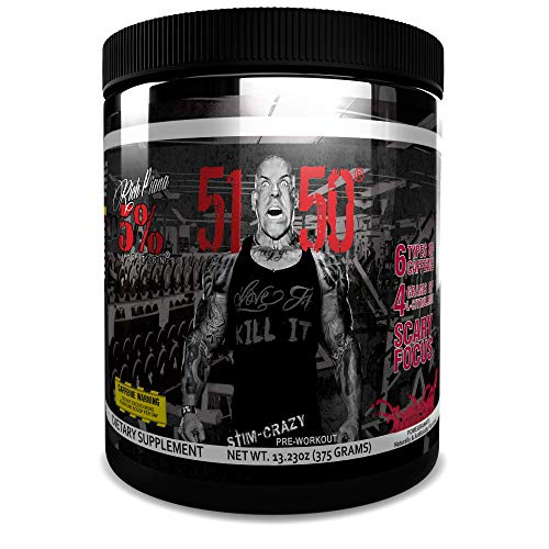 Rich Piana 5% Nutrition 5150 High Stimulant Pre-Workout Powder Supplement, 6 Caffeine Sources for Energy, Extreme Focus, N-Acetyl L-Tyrosine, Beta-Alanine, 30 Servings (Int'l Version) (Pomegranate)