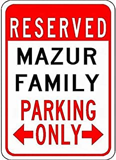 LoMall Metal Signs Mazur Family Parking - Customized Last Name - 8X12 Tin Sign for Garage