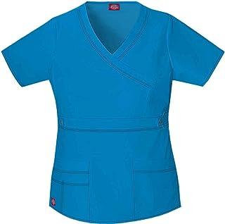c07581cfea0 Dickies Gen Flex Women's Mock Wrap Solid Scrub Top XXXX-Large Riviera Blue