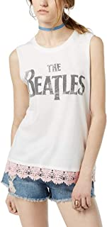 Hybrid Juniors' The Beatles Lace-Trimmed Graphic Tank Top
