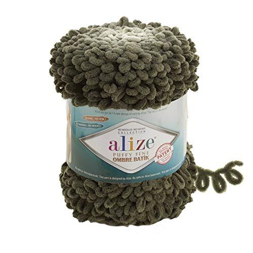 Alize Ovillo de lana para manta de bebé de 1 skn de 500 gr 87 yardas 100% micropoliéster suave hilado en bucle para tejer los dedos, sin gancho sin aguja (7299)