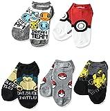 Pokemon Boys 5 Pack No Show, Black Grey Multi, Fits Sock Size 6-8.5 Fits Shoe Size 7.5-3.5