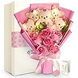 FAUHAL キラキラ真珠飾り、赤いサンゴのような花  ソープフラワーギフト 香り付き花 方形ボックス バラ 石鹸花束 枯れない花 お祝い 恋人に 彼女に デート用  記念日 誕生日 バレンタインデー  お盆 教師の日 敬老の日 プレゼント 手提げ、メーセージカード (ピンク)