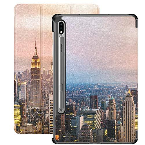 Skyline de la Ciudad de Nueva York con Rascacielos urbanos en Su Funda Galaxy S7 para Samsung Galaxy Tab S7 / s7 Plus Funda para Libro Samsung Galaxy Tab S7 Cubierta Trasera para Soporte Funda Galaxy