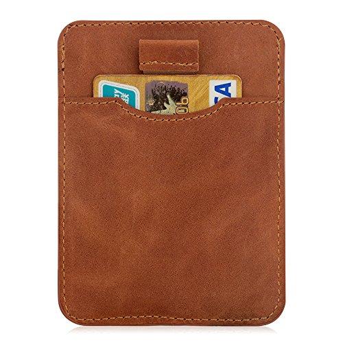RFID Blocking Wallet, Marge Plus Slim Genuine Leather Card Holder Sleeve Wallet, Front Pocket Wallet RFID Blocking Card Holder Case for Men or Women-Card Holder Design For Up To 12 Cards(Brown)