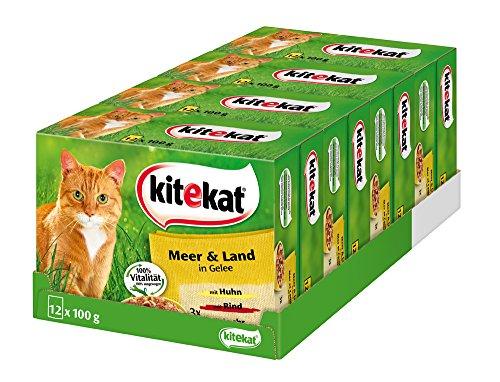 Kitekat Katzenfutter Meer und Land in Gelee, 48 Beutel (4 x 12 x 100 g)