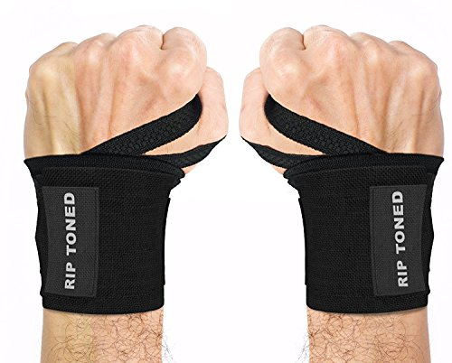 "Rip Toned Wrist Wraps 18"" Professional Grade with Thumb Loops - Wrist Support Braces for Men & Women - Weight Lifting, Crossfit, Powerlifting, Strength Training - Bonus Ebook (Black Stiff)"