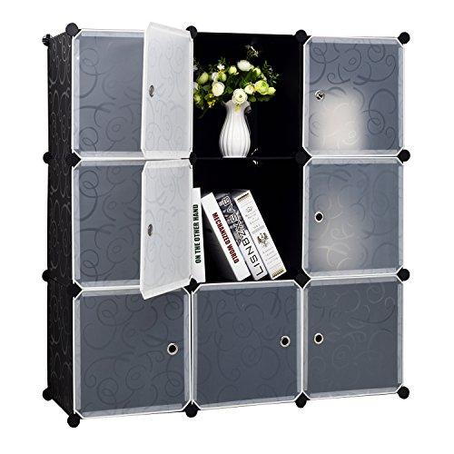 9-Cube Storage DIY Cube Organizer Cabinet 3-Tier Office Bookcase Storage Cube Organizer Closet with Door