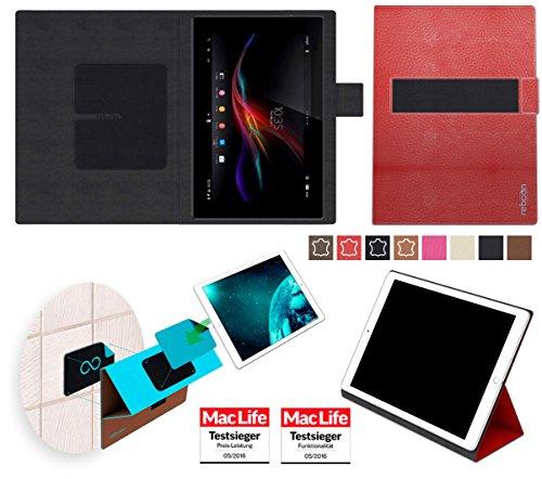 Custodia per Sony Xperia Z Tablet | in Cuoio Rosso | Cover Case Caso Multifunzionale