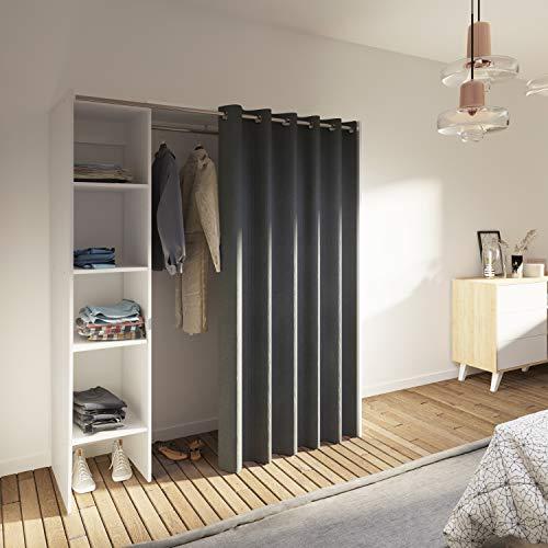 Dressing 1 Colonne Bois Blanc/Anthracite 160 x 182 x 50 cm, 4020A2193R00