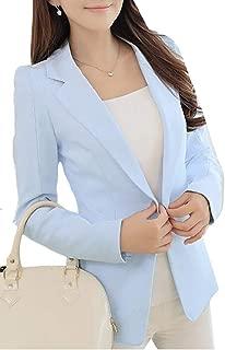 Womens Solid Work Suit Coat One Button Elegant Blazer Jacket