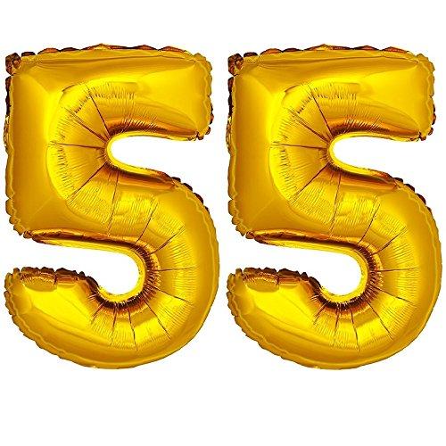 DekoRex® Folienballon Zahlenballon Luftballon Geburtstag Deko 80cm Zahl Gold 55