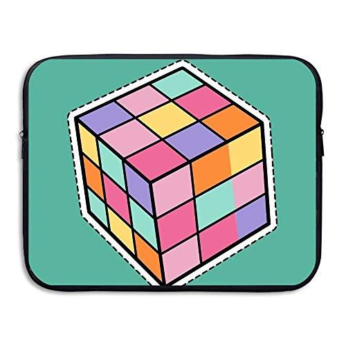 Rubik Cube - Funda para Ordenador portátil (33 x 38 cm), diseño de Cubo, Negro (Negro) - 7443816246416