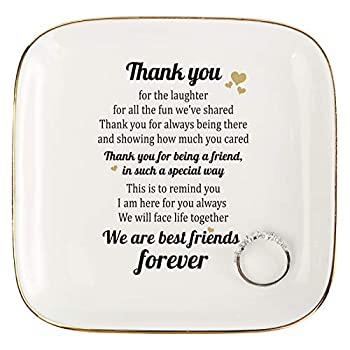 Scwhousi Friend Gifts for Women,Thank You Retirement Gifts for Friends Coworker,Ring Trinket Dish with Friendship Quotes for Women Birthday