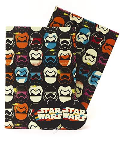 Geburtstags-Geschenkpapier für Jungen, Geschenkpapier für Kinder, Star Wars Geschenkpapier, für Geburtstag, Star Wars Geschenkpapier, 2 Bögen und 2 Anhänger