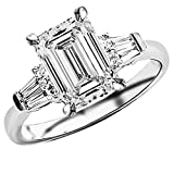 1.75 Ctw 14K White Gold Baguette Round Emerald Cut Diamond Engagement Ring (1.5 Ct H Color SI1 Clarity Center Stone)