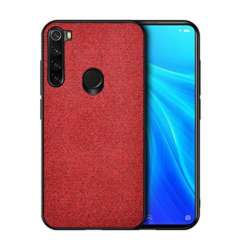 Liluyao Funda telefónica para Xiaomi For Xiaomi redmi Nota 8 a Prueba de Golpes Textura del paño de la Caja Protectora de TPU + PC (Color : Red)