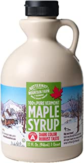 Butternut Mountain Farm Pure Vermont Maple Syrup, Grade A (Prev. Grade B), Dark Color, Robust Taste, All Natural, Easy Pou...