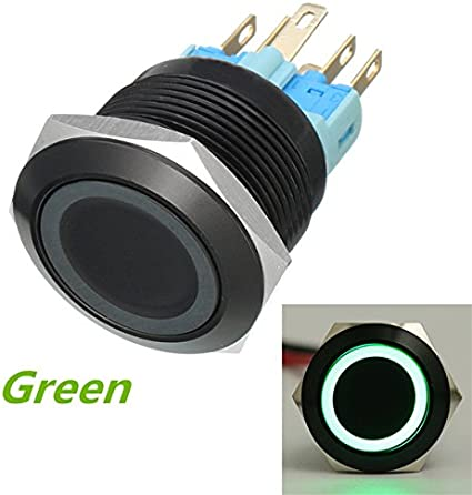 Esportsmjj 12v 22mm 6 Pin Momentaner Schalter Led Licht Metall Push Button Momentary Switch Grün Küche Haushalt